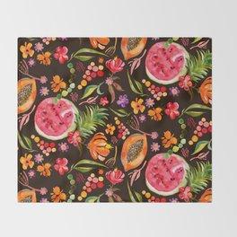 Tropical Fruit Festival in Black | Frutas Tropicales en Negro Throw Blanket
