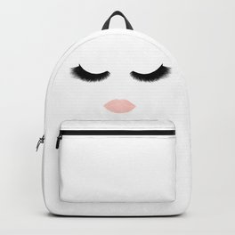 eyelashes with pink lips Backpack