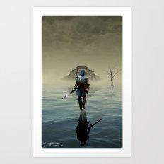 The hardest battle lies within (Blue Tunic / Shadow Variant) Art Print