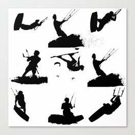 Wakeboarder Silhouette Collage Canvas Print