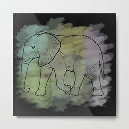 Elephant with black background Metal Print