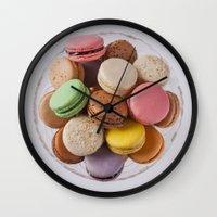 macarons Wall Clocks featuring Macarons by Sara Opatowsky