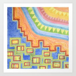 Striped Bungalows in the bright Sunlight Art Print
