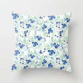 Midsummer - Watercolor Blueberries  Throw Pillow
