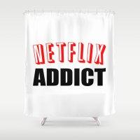 netflix Shower Curtains featuring Netflix Addict by Poppo Inc.