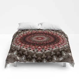 Detailed mandala in grey and red Comforters