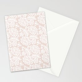 Elegant coral white modern floral lace pattern Stationery Cards