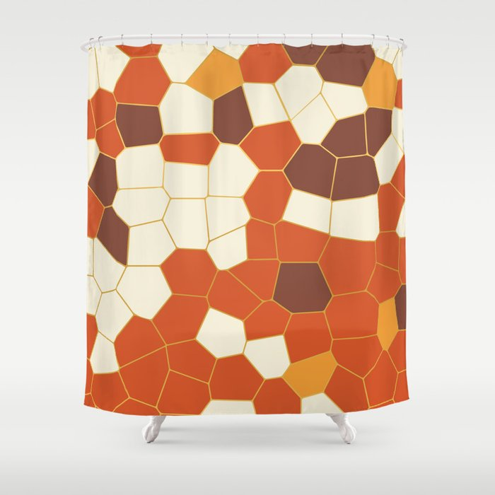 Hexagon Abstract Orange_Cream Shower Curtain