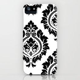 Decorative Damask Art I Black on White iPhone Case