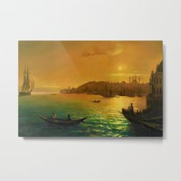 View of Constantinople by Moonlight by Ivan Aivazovsky Metal Print