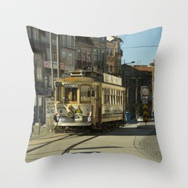 Porto Streetcar Throw Pillow