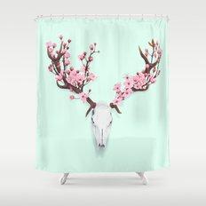 CHERRY BLOSSOM SKULL Shower Curtain