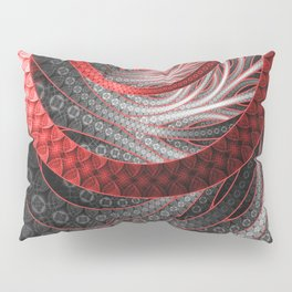 Beautiful Silver and Red Fractal Vampire Scales Pillow Sham