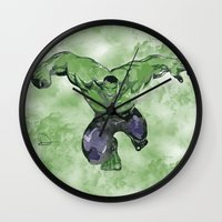 hulk Wall Clocks featuring Hulk by DanielBergerDesign