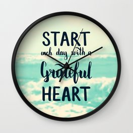 Start each day with a grateful heart Text on sea photo Wall Clock