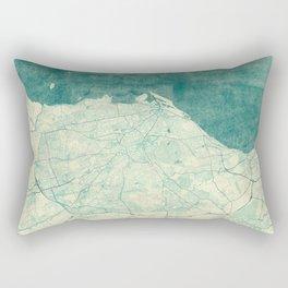 Edinburgh Map Blue Vintage Rectangular Pillow