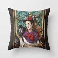 frida kahlo Throw Pillows featuring Frida kahlo by Sophie Wilkins