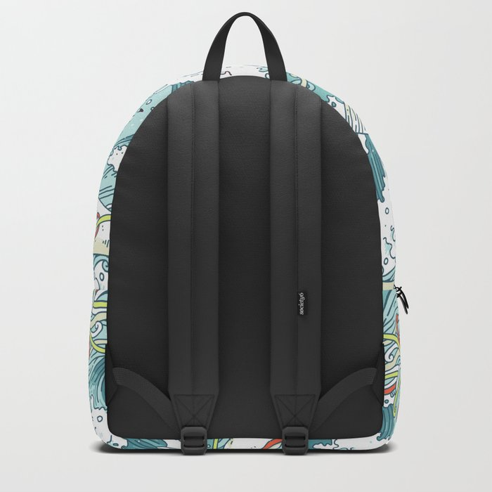 Whales and waves pattern Backpack