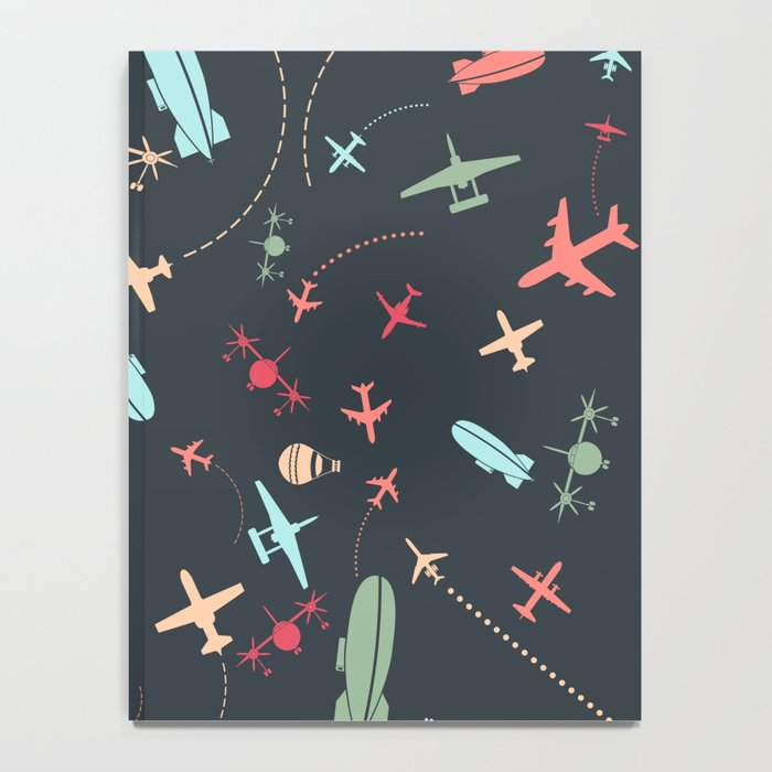 Black Airplane and Aviation Pattern Notebook