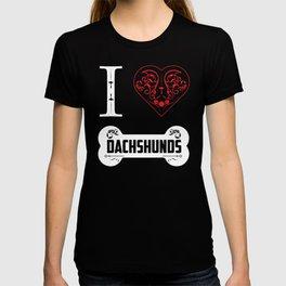 Funny Dachshund I Heart Dachshunds Bone Ornaments T-shirt