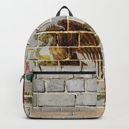 Mexico flag on a brick wall Backpack