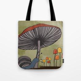 What's Underfoot -- Snail & Mushrooms Tote Bag