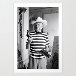 Pablo Picasso With A Gun, home decor , vintage photography, icon , print, photography, wall art, famous artist Art Print