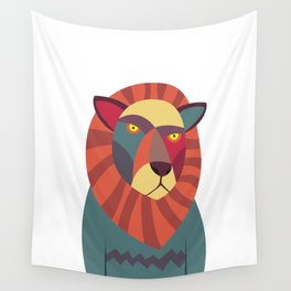 Hipster Lion Wall Tapestry