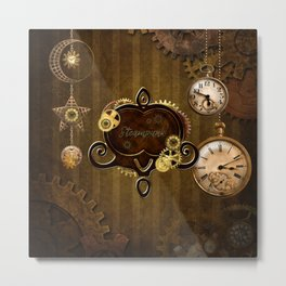Awesome steampunk design with clocks and gears Metal Print