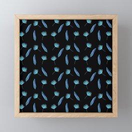 Elegant Tropical Pattern with a black background Framed Mini Art Print