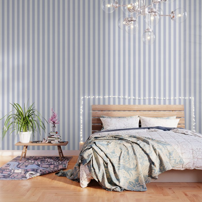 Light Periwinkle Blue Solid Color White Vertical Lines Pattern Wallpaper By Makeitcolorful
