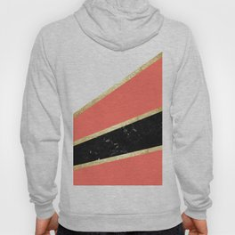 Living Coral, White, Black Marble and Gold Stripes Glam #1 #minimal #decor #art #society6 Hoody