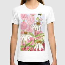 Pink Hollyhock and White Coneflower Garden Flowers T-shirt