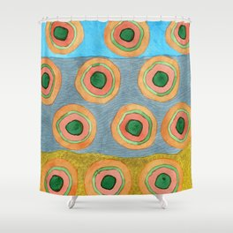 Circles in Front of a Beach Shower Curtain