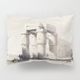 Luxor in upper of Egypt  by David Roberts (1796-1864) Pillow Sham