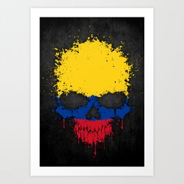 Flag of Colombia on a Chaotic Splatter Skull Art Print