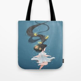 Looming Darkness - Underwater Girl with Glowing Fish and Starfish Tote Bag