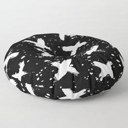 X Paint Spatter Black and White Floor Pillow