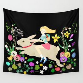 Hppy Rabbit Ride Wall Tapestry