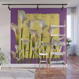 Purple-Yellow Calla Lilies Pattern Wall Mural