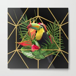 Bold Golden Geometric Tropical Bouquet With Toucan Metal Print