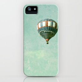 Vintage Red, White, and Blue Hot Air Balloon on Robin's Egg Blue iPhone Case