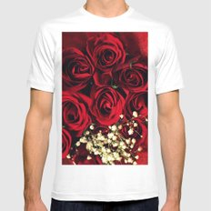 Red Roses Mens Fitted Tee MEDIUM White