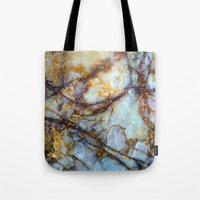 sticker Tote Bags featuring Marble by Patterns and Textures