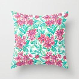 Ixora Hybrid Crimson Star Watercolor Pattern Throw Pillow