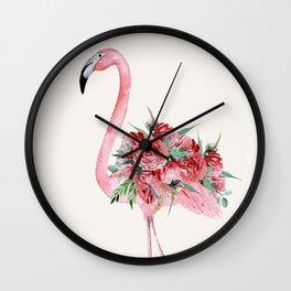 Flamingo Floral Wall Clock
