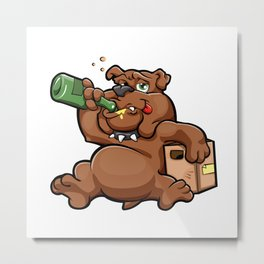 drunk dog with alcohol bottle Metal Print