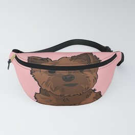 Cute brown Yorkshire Terrier dog - pink background Fanny Pack