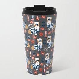 Corgi sailor custom pet friendly dog breed welsh corgis nautical pattern Travel Mug