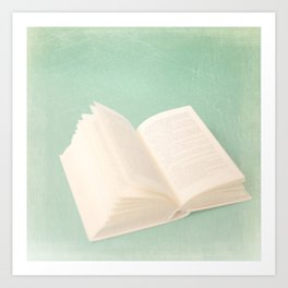 Open Book on Blue Textured Background (Vintage and Retro Still Life Photography)  Art Print